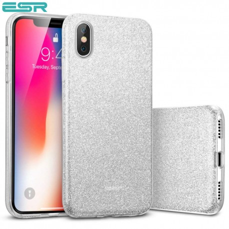 ESR Makeup Glitter case for iPhone X, Silver