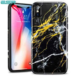 ESR Marble case for iPhone X, Black Gold Sierra