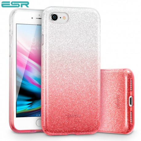 Carcasa ESR Makeup Glitter iPhone 8 / 7, Ombre Pink