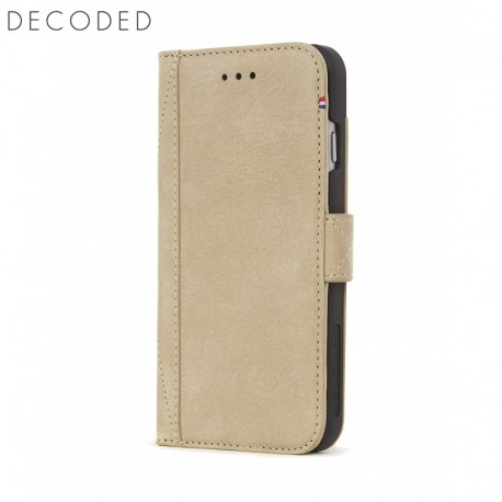 Leather wallet case with magnet closure for iPhone 8 / 7 / 6s Decoded beige