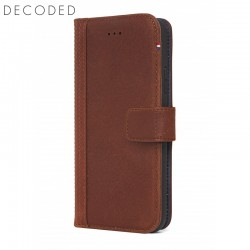 Leather wallet case with magnet closure for iPhone X Decoded brown