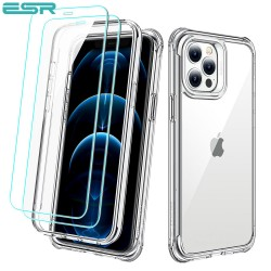 Carcasa ESR Alliance iPhone 12 / 12 Pro, Clear frame + 2 folii sticla securizata