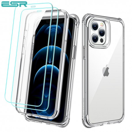 ESR Alliance - Clear frame case for iPhone 12 Pro Max + 2 Tempered-Glass Screen Protectors